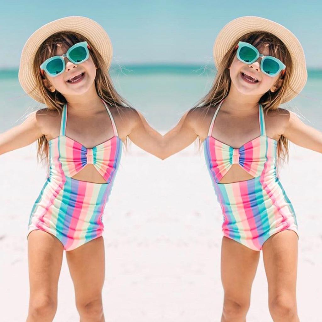 Giá bán Cô Gái Thời Trang Hàn Quốc Dễ Thương Tập Đi Cho Bé Kids Bé Gái Sọc Cầu Vồng Đồ Bơi Bơi Đi Biển Romper Áo Liền Quần Áo Miễn Phí Vận Chuyển Cá Tuyết