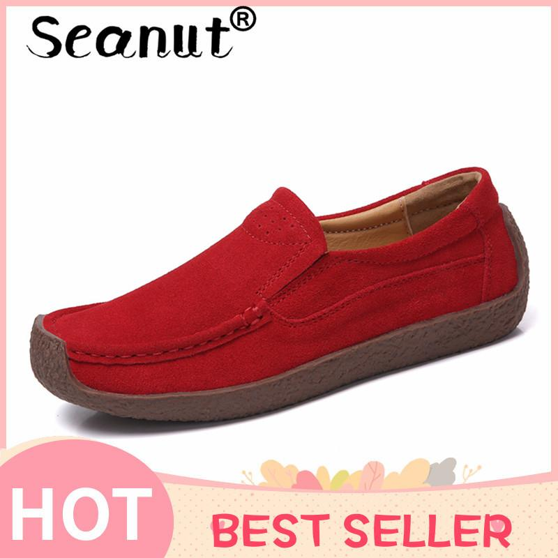 Shipping Casual Flats Loafers Breathable Leather free Lazy On And Seanut Shoes Shoes Slip Women Lightwear y7gf6b