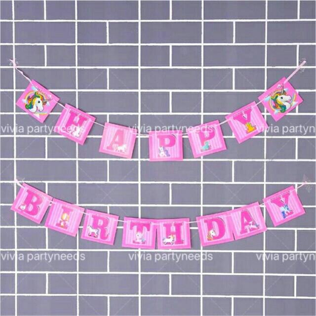 Unicorn Birthday Banner With String (2.5) By Ah K Asta Store.