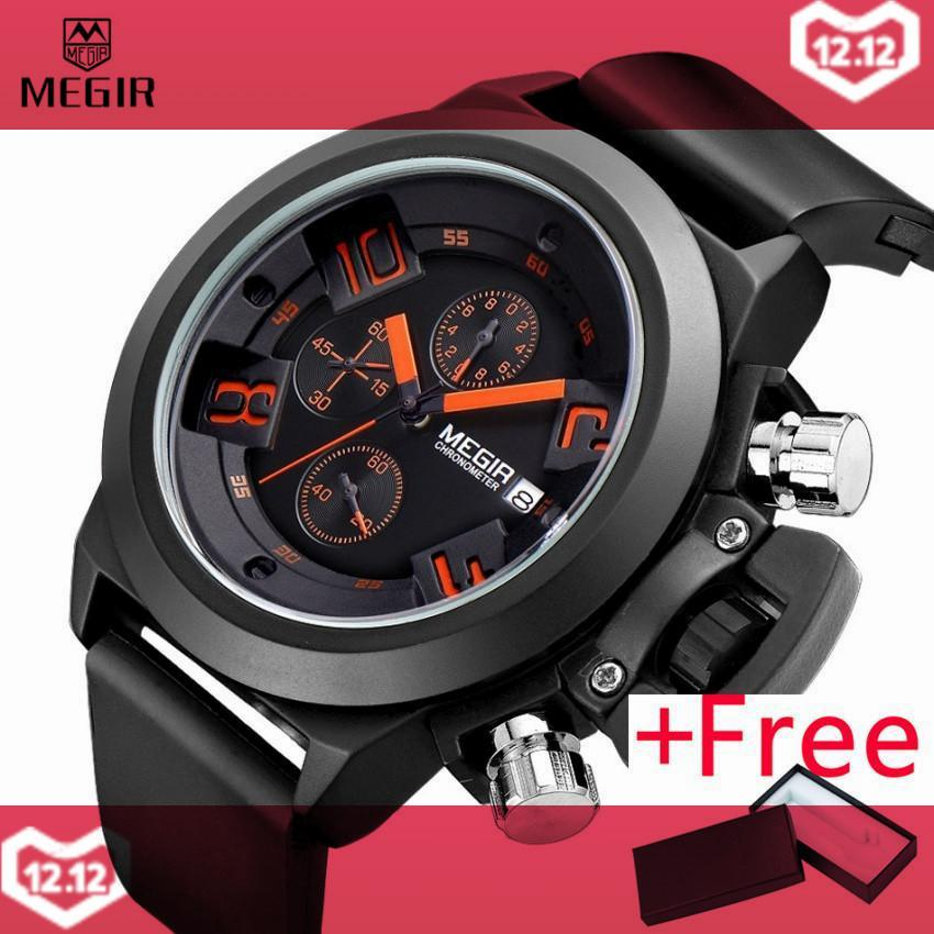 MEGIR MN2002 Original Watch Jam Tangan Men Sport Quartz Men Watch Jam Tangan  es Chronograph WristWatch a964c58f16