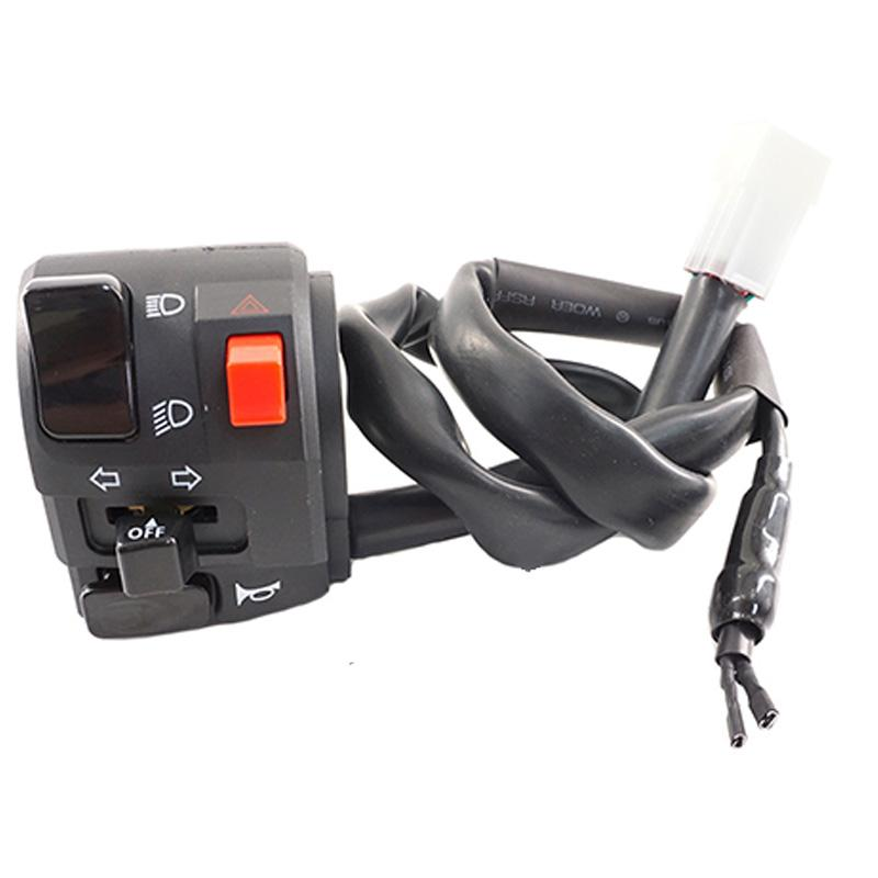 7//8 Motorcycle Handlebar Control Switch Universal Handlebar Mount Switches with Horn Turn Signal High Low Beam Control for Motorbikes Electric Bike ATVs Scooters Plating