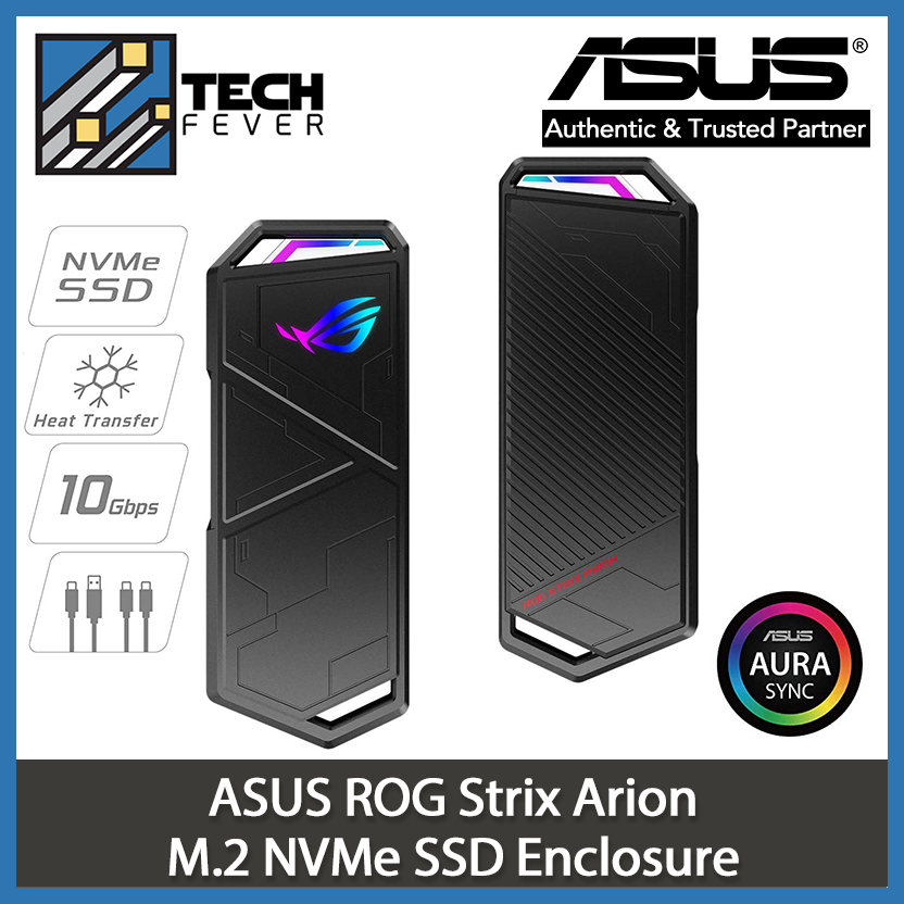 ROG Strix Arion M.2 NVMe SSD Enclosure USB3.2 GEN2 Type-C (10 Gbps), Dual USB-C to C and USB-C to A Cables, Screwdriver-Free, Thermal Pads Included, Fits PCIe 2280/2260/2242/2230 M Key/B+M Key