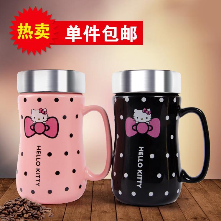 4788d8aa9594 Hello kitty Creative Ceramics Mug Cute Milk Cup Cool Couples Glass Office  Coffee Cup