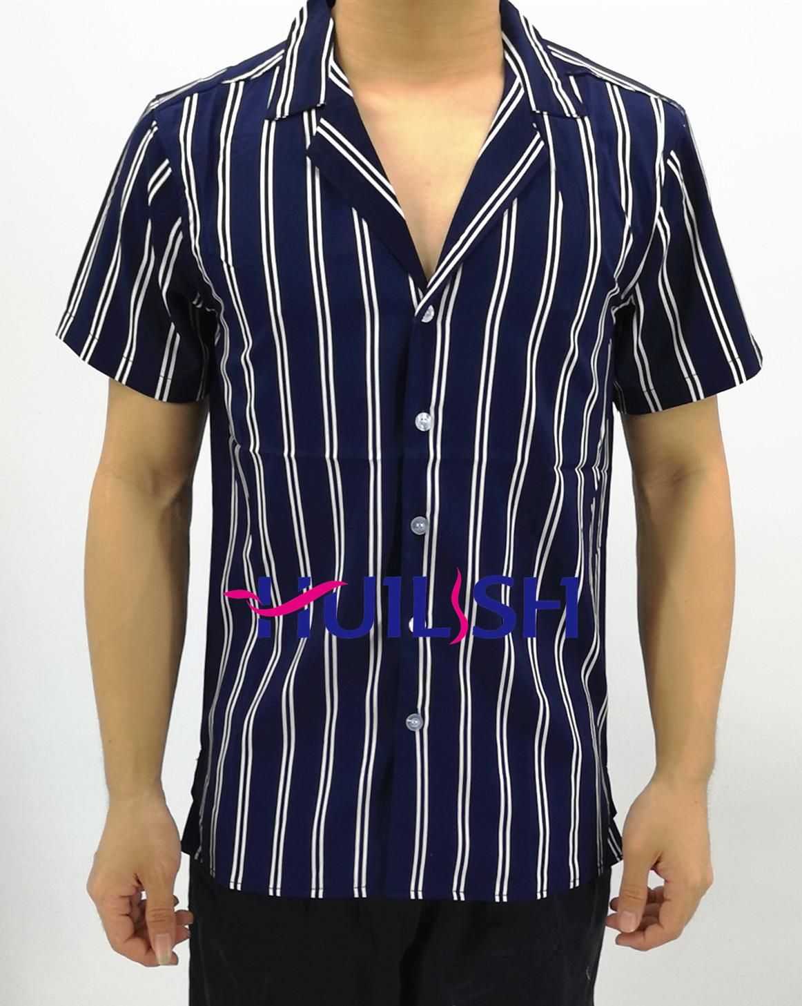 72f78acee4 Huilishi New striped shirt men's short sleeve casual Korean shirt For men's