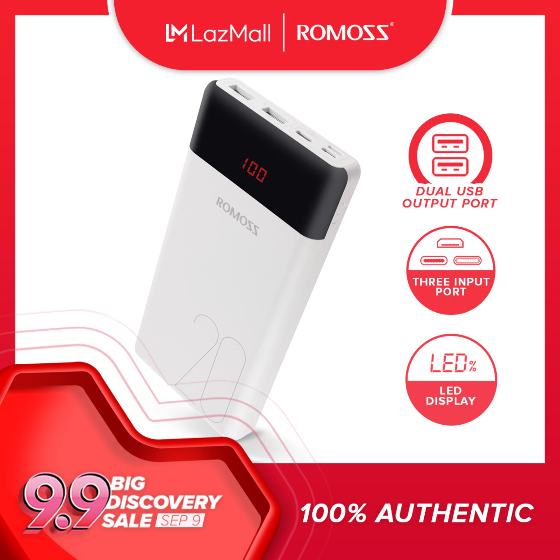 Romoss LT20 3 Input 5V:2 1A, 2 Output Max 5V:2 1A Fast Charging 20000mAh  Powerbank (White)