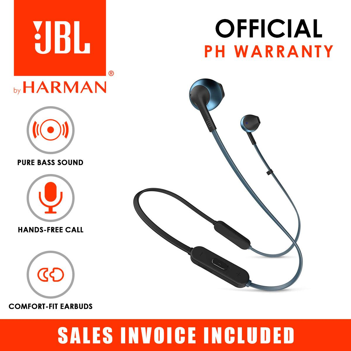 8378fae684a JBL T205BT Pure Bass Wireless Bluetooth In-Ear Headphones with Mic (Blue)
