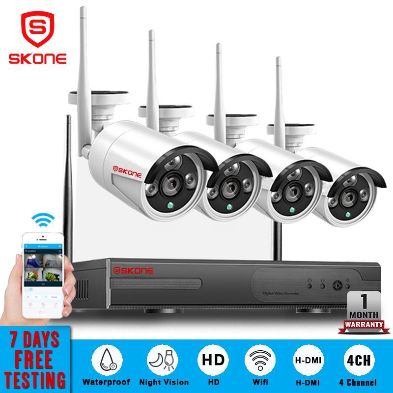 HD NVR KIT 720P 4 Channel Outdoor Wireless WiFi CCTV System Waterproof  Surveillance Screen Video Monitor IP PRO SKONE