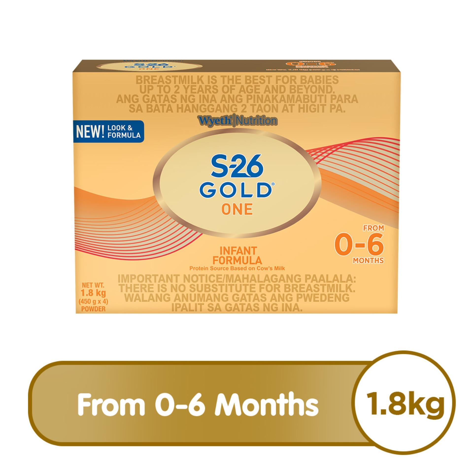 Wyeth® S-26 GOLD® ONE Infant Formula for 0-6 Months, Bag in Box, 1 8kg x 1