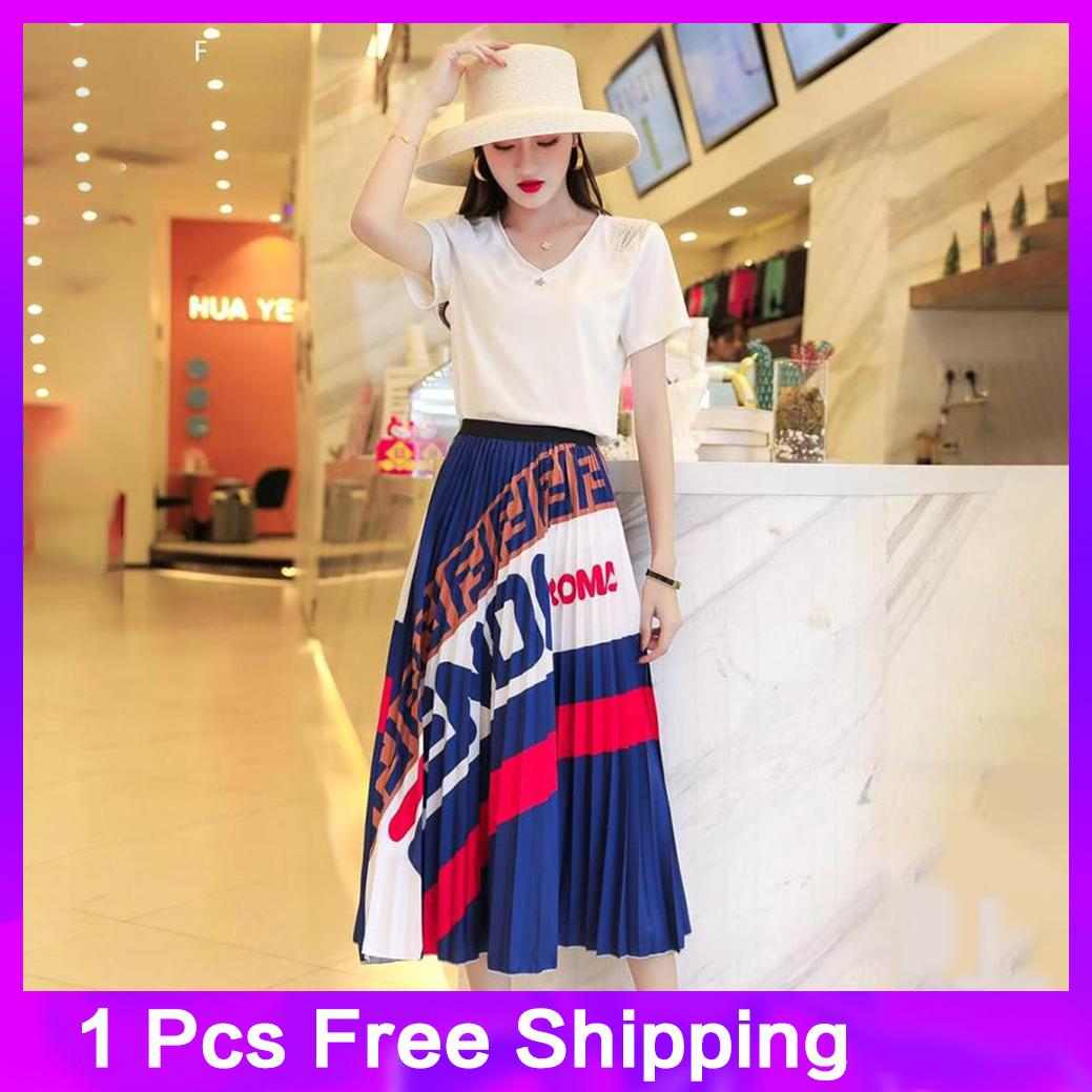 8f2fe57fcb 2019 New European-style Pattern Retro Skirt with High Waist and Slim  Printed Pleated Skirt
