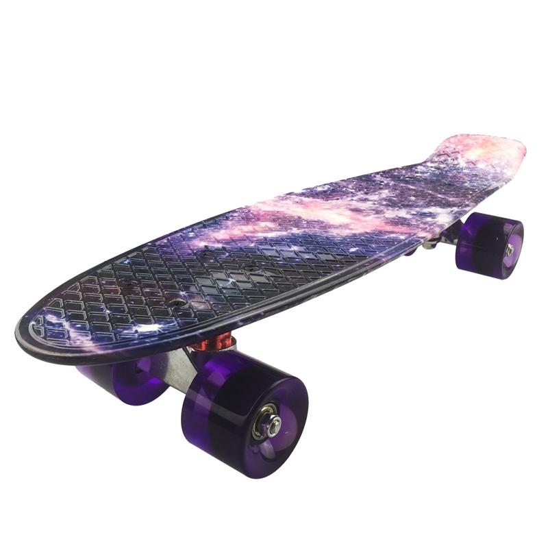 Skateboard Mini Cruiser Board 22 inch X 6 inch Retro Longboard Skate Long Board Graphic Galaxy Purple