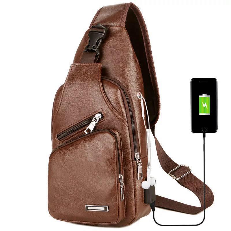 Abs_absl 5851 Fashion Mens Crossbody Bag Messenger Leather Shoulder Chest Bags Usb Headphone Hole Designer Bags For Men By Abs_absl.