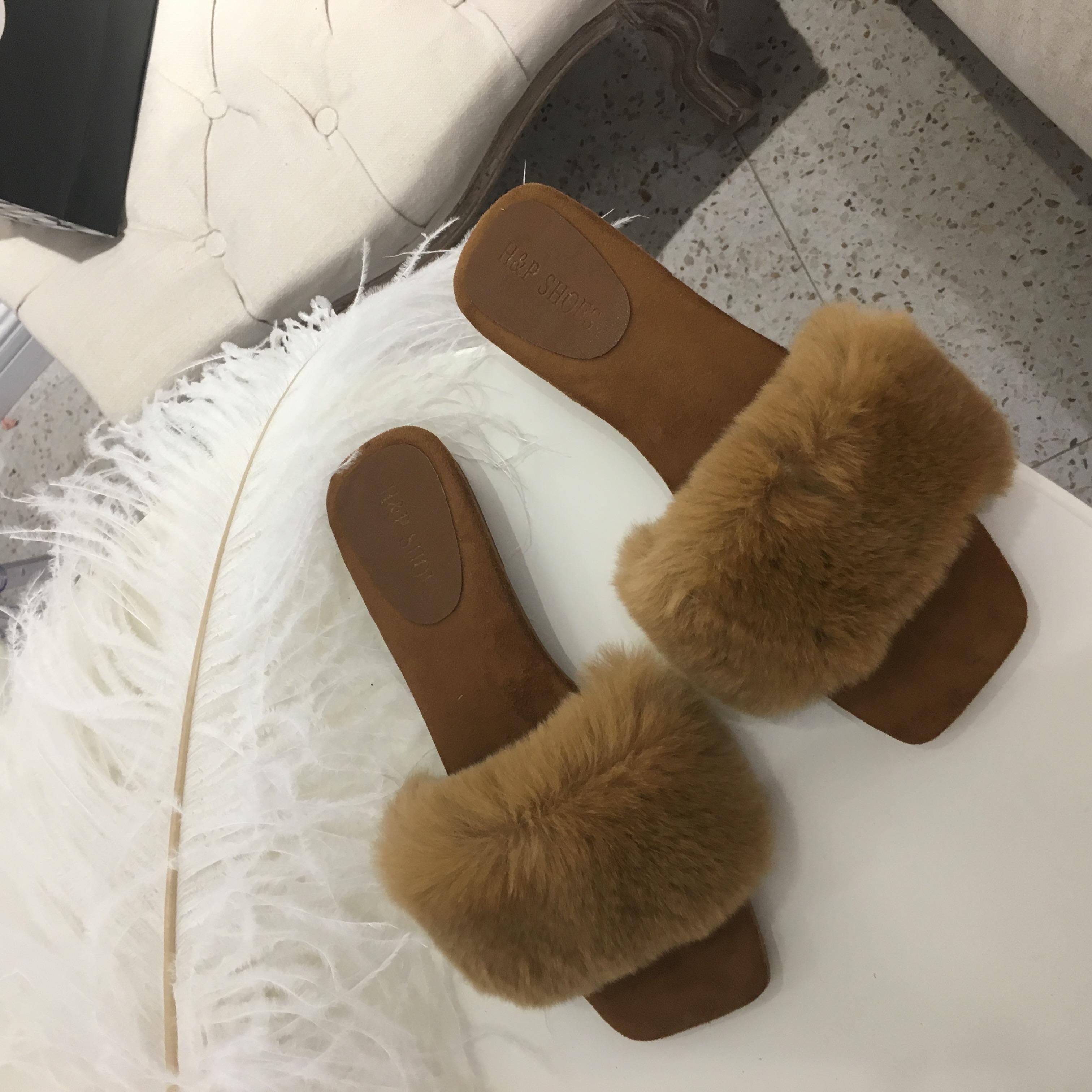 dbd5b88cda6b INS Online Celebrity Sandals Furry Slipper Autumn New Style Rex Rabbit Fur  Fashion Outer Wear Flat