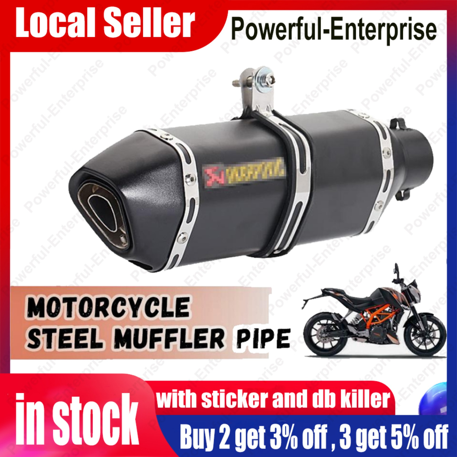 51mm Motorcycle Exhaust Muffler With Silencer Db Killer And Ak Sticker Lazada Ph