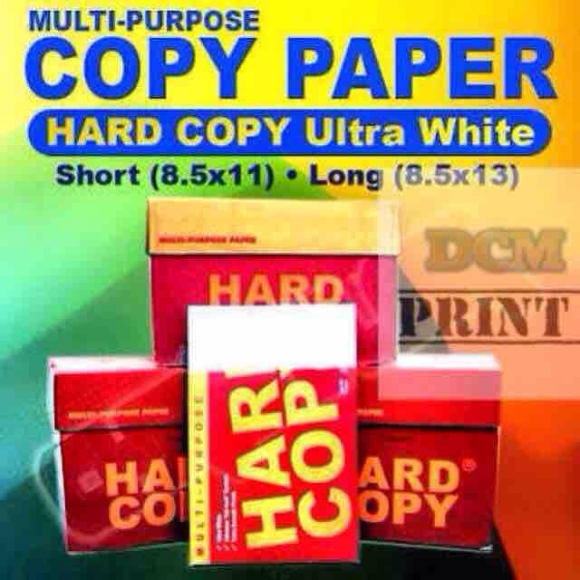 Hardcopy Bond Paper Short A4 Long 500sheets/ream By Dcmprint.
