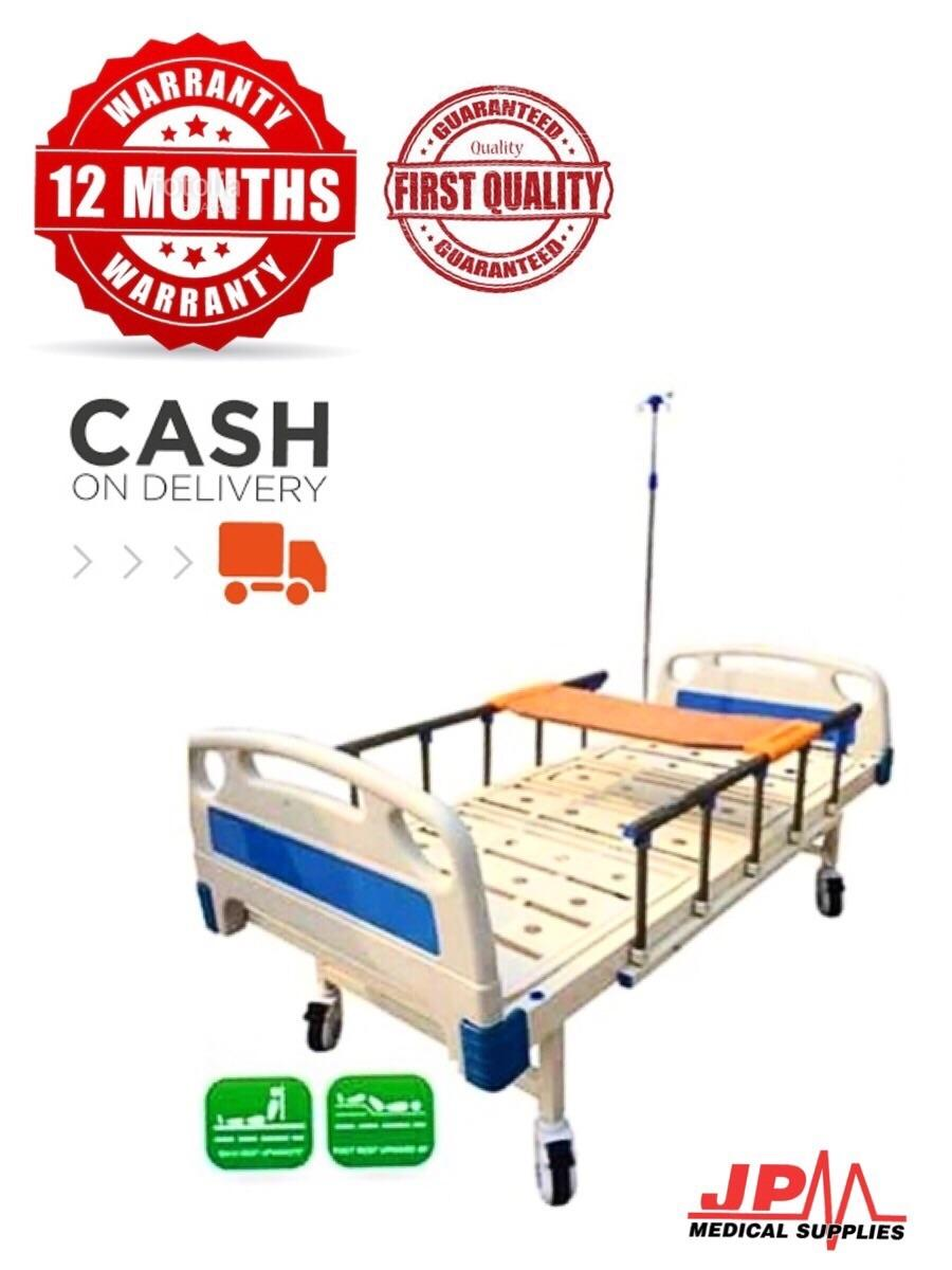 sale retailer a967c b22ff TWO CRANKS HOSPITAL BED WITH 4 INCH LEATHERETTE FOAM, TABLE AND IV POLE