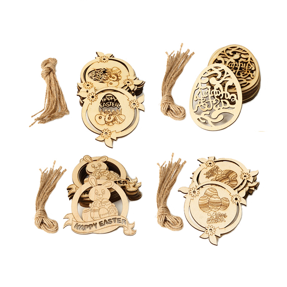 Graffiti Hanging Ornaments Easter Eggs Easter Decorations Wood Chips Wood Slice
