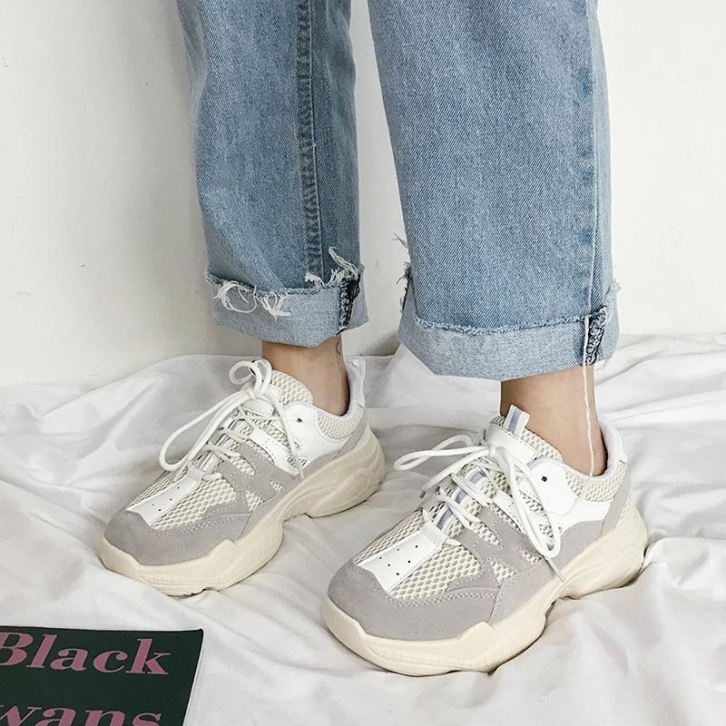 Oldpapa Shoes Female Ins เสื้อผ้าแฟชั่น Fashion 2019 New Style Summer Students Versatile Punched Sheet Surface Athletic Shoes White Shoes Muffin Network Shoes By Taobao Collection.