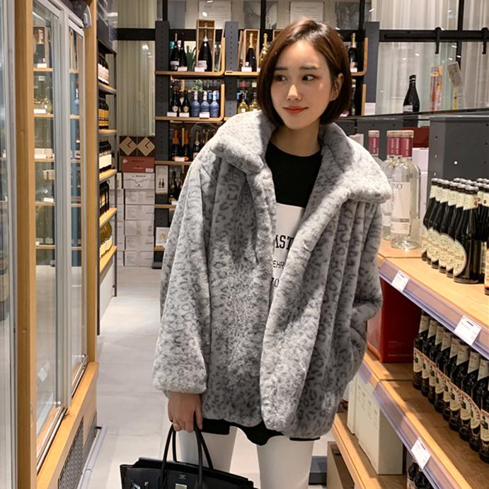 84dcff7a0a186 Leopord Pattern Environmentally Friendly Faux Fur Coat 2018 South Korea  Autumn And Winter Dongdaemun women Loose