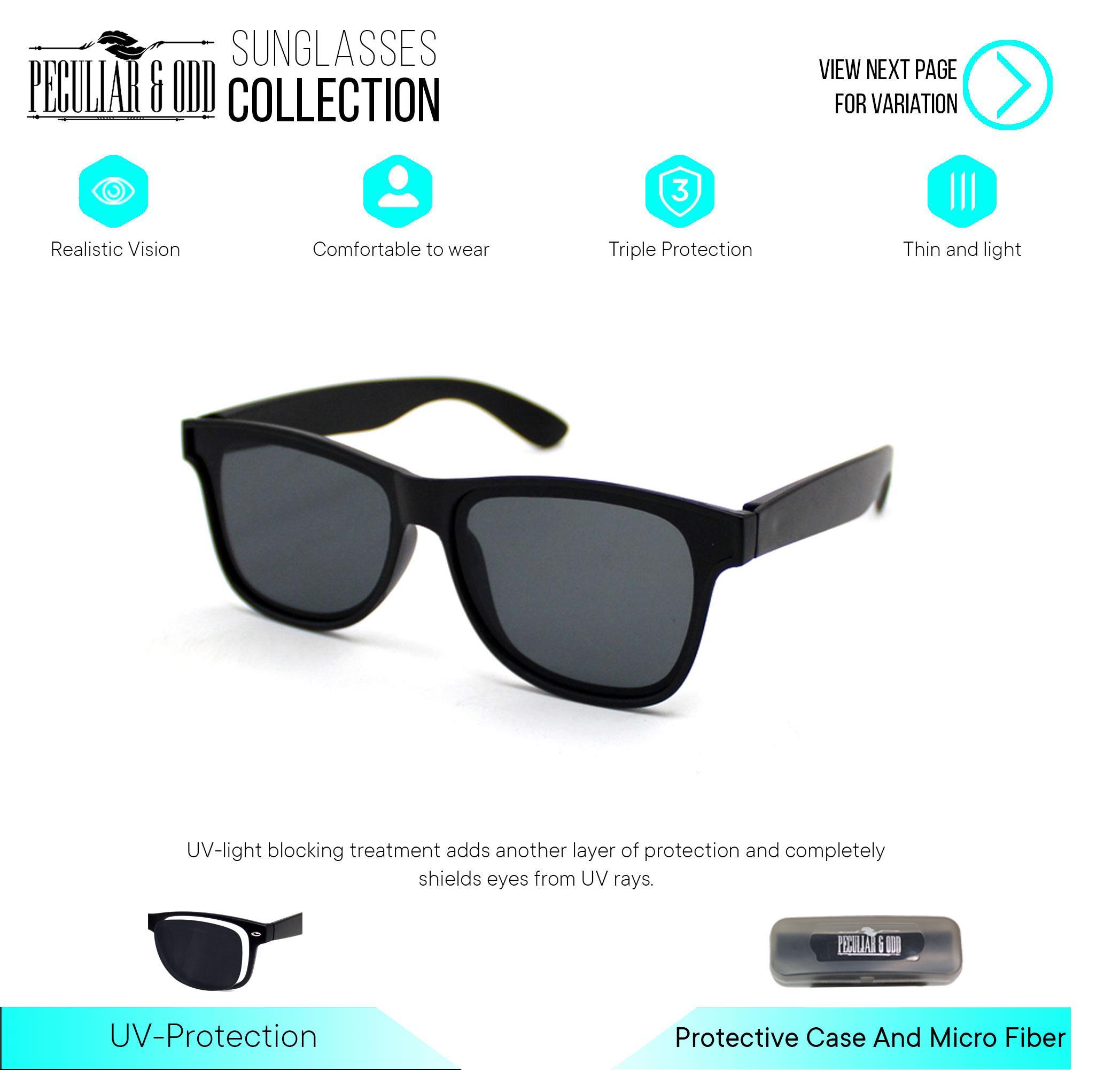 694ab22590d8 Peculiar Wayfarer Classic Sunglass 739 Bblack in Black Frame and Flash  Lenses