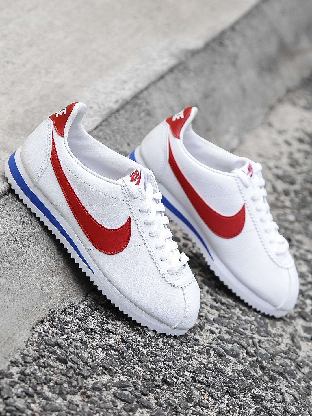 promo code c1bc7 c8fb9 Cortez Forrest Gump Classical Sport Shoes Running Shoes Shock Absorption  hock Resistance Leather (white / red logo) UNISEX