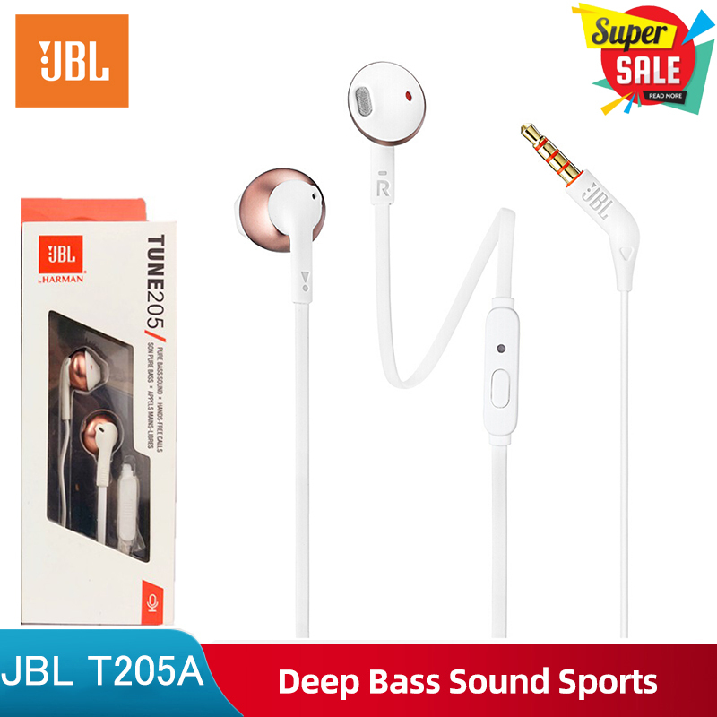 Original JBL T205 3.5mm Wired Headphones Game Harman Music Headset Sport Earphone Hands-free with Mic For ios iPhone and Android Huawei/Xiaomi/oppo/vivo/Samsung Singapore