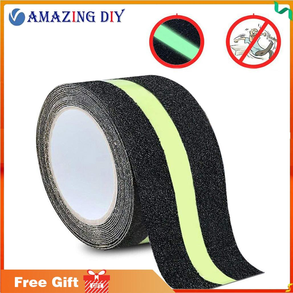 Anti Slip Traction Tape, None Skid Glow in The Dark Walk Strip Safety Tape with 5M Best Grip Abrasive Adhesive for Stairs, Tread Step, Gaffers.(5cm Wide x 5M Long Roll)