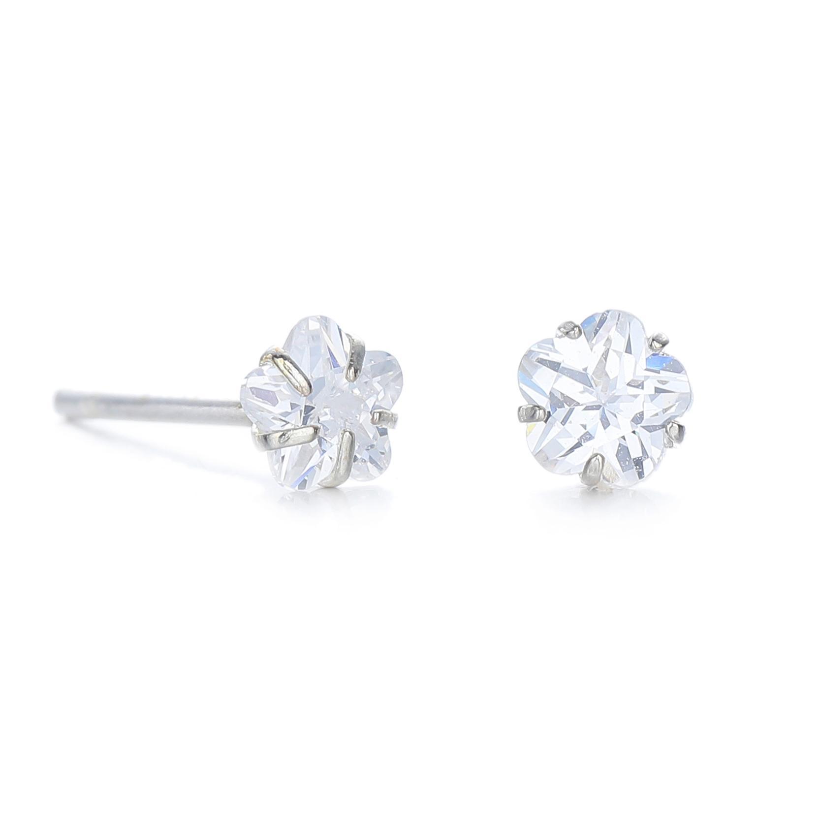 703dd67cb2e2c Silver Kingdom Original Italy 92.5 White Stone Flower Design Earrings E1054  4mm