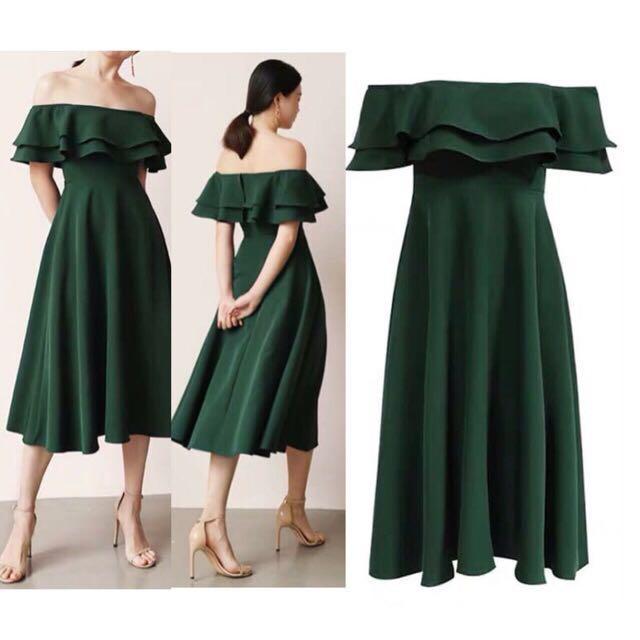973bf46d5dd2 angelfashion New Female Off Shoulder Ruffles Dresses Elegant peach dress  #929