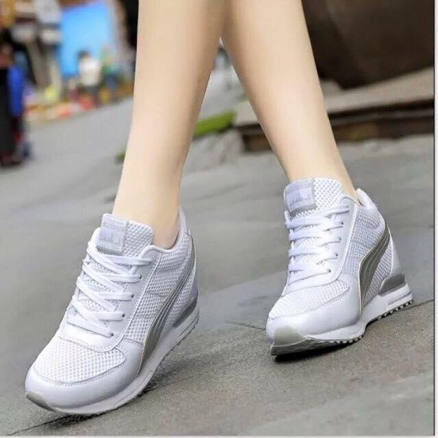 bd54f95593 Philippines. SALE 2019 Hidden Wedge Height Increasing Lace Up Sneakers For  Women Adjust 1Size