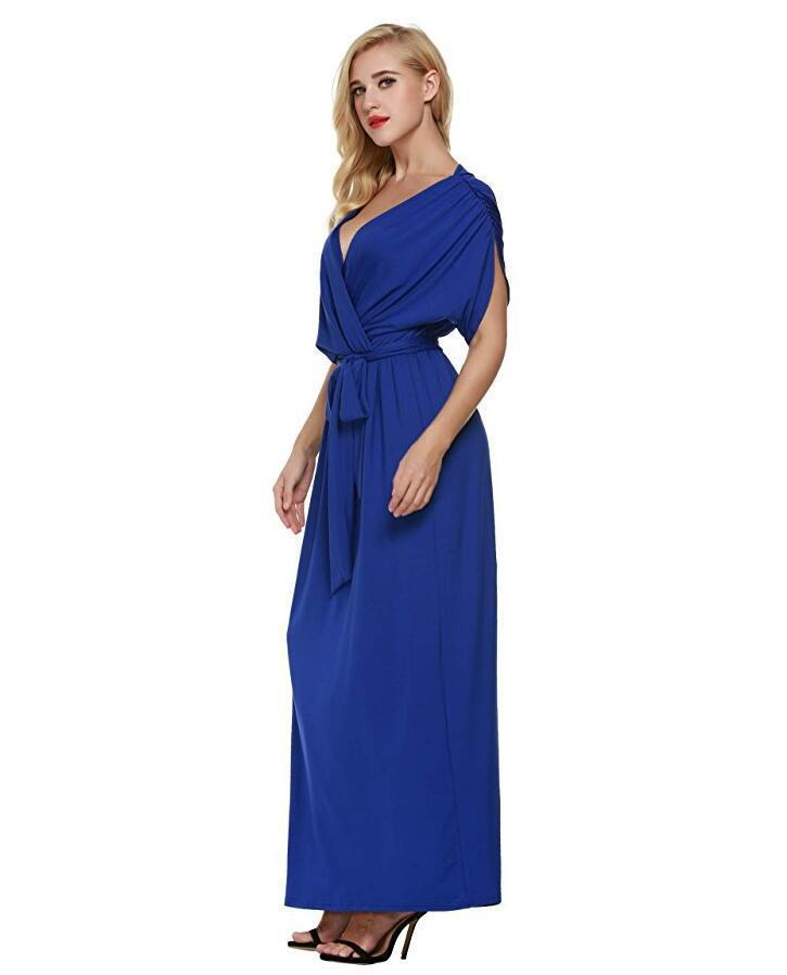 f8c261db9dd2f Dress Women Summer Sexy V Neck Batwing Maxi Long Dresses Party Full Gown  Belt Vestidos Femininos Plus Size M-4XL