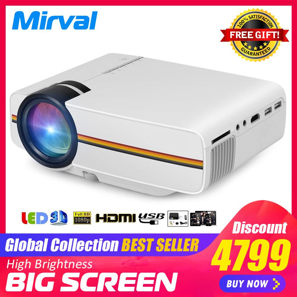 Mirval YG400 2019 New LED Mini Portable Projector 1800 Lumens Support HDMI  VGA USB TFcard Function Personal Cinema