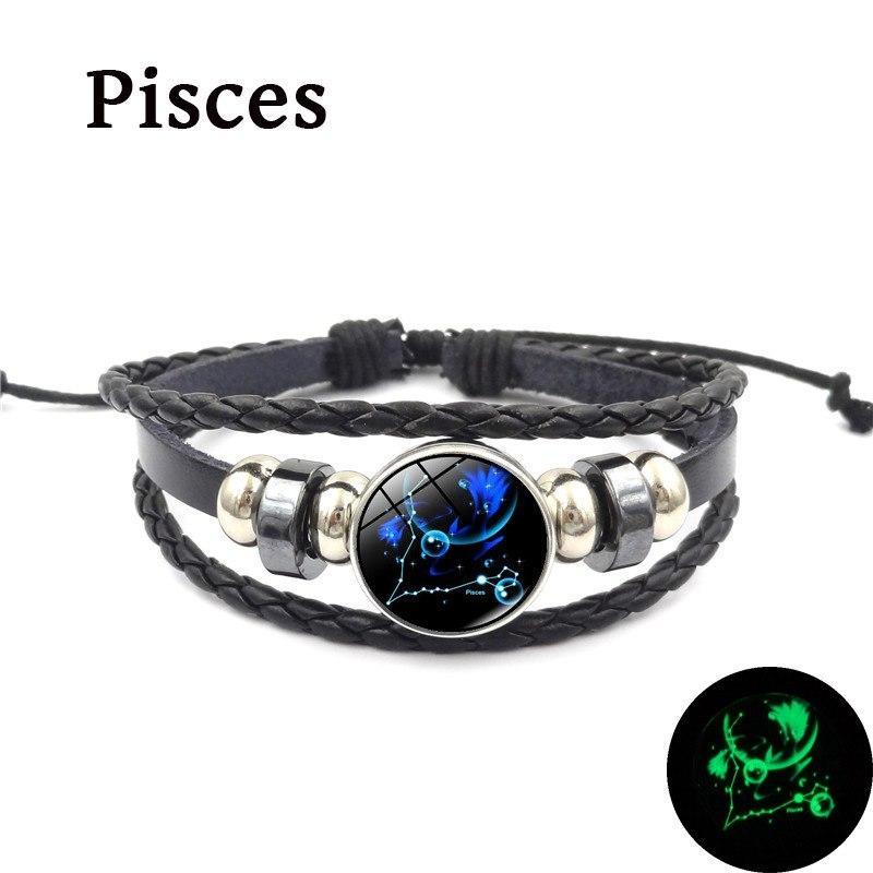 18c98ffc85e 2019 New 12 Constellation Luminous Bracelet Men Leather Bracelet Charm  Bracelets for Men Boys Women Girl