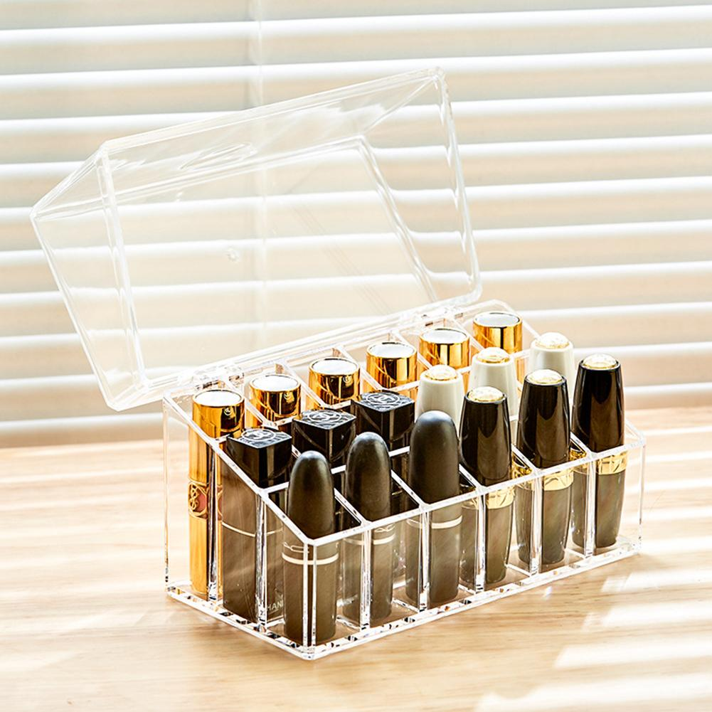 Outop Multipurpose Transparent Storage Box with Dustproof Cover for Lipstick Display