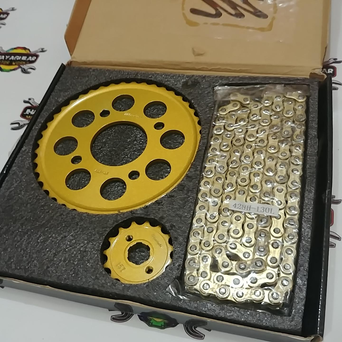 RS 150 Chain Set 15/43/428 (Gold)