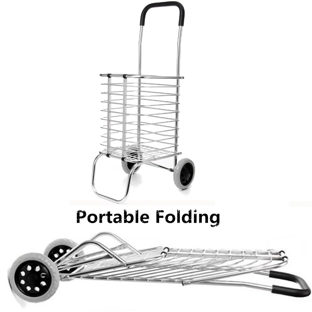 8dc1a760ece Lightweight Aluminum Foldable Shopping Trolley Portable Grocery Folding Cart