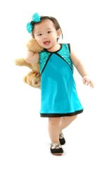 Baby Fashionista Sequined Jersey Shift Dress (Turquoise)