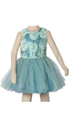 Baby Fashionista Sequinned Florettes Dress (Green)