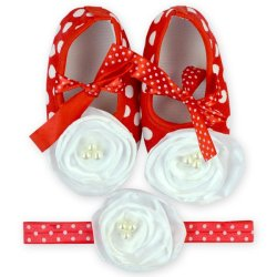 Baby Shoes and Headband in Set (Red/White)