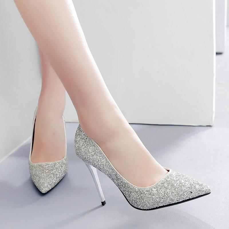 Sequin Married Shoes women 2018 New Style Marriage Shoe Wedding dress for  women Bride Shoes Annual d1f34497caf7