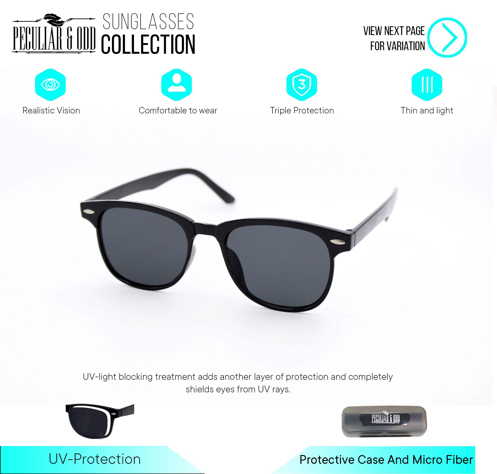 50ac02a47828 Peculiar Wayfarer Square Sunglasses Flash Lenses Black Flash 721 Straight  Design Unisex