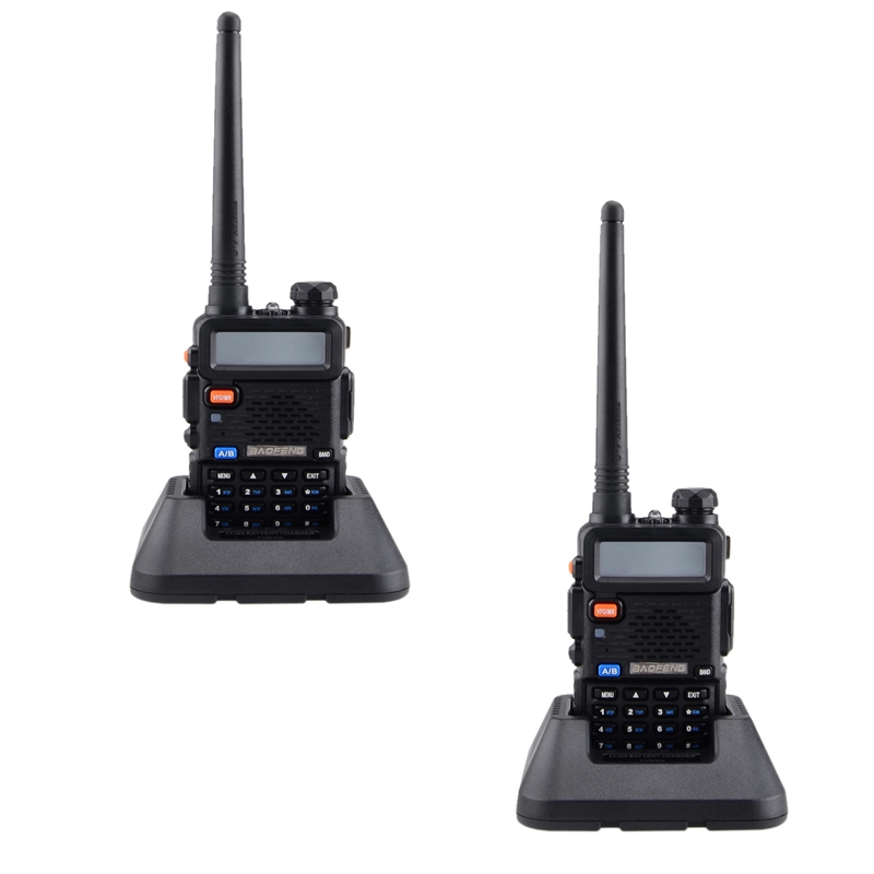 """Baofeng UV-5R 1.5"""" LCD EU Plug Walkie Talkie (Black) Set of 2"""
