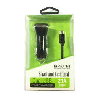 Bavin PC111 2.1A Dual USB Car Charger with Micro USB Cable (Black)