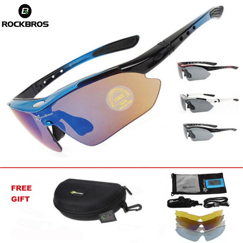 RockBros Polarized Cycling Sports Sunglasses with 5 Pairs of Lenses (White) - intl
