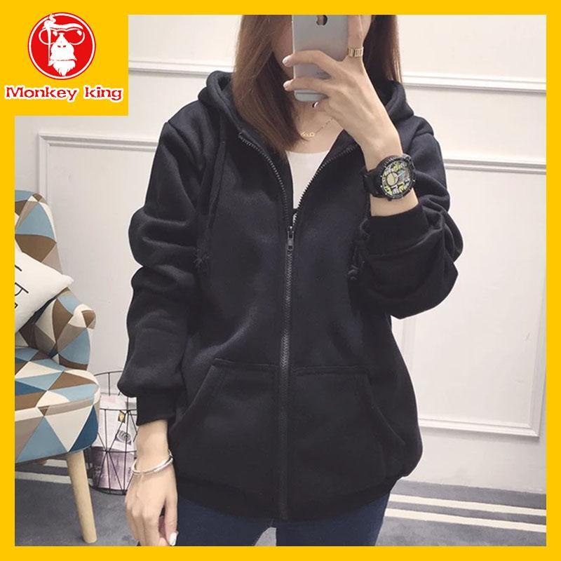 b3f72210d2 [Monkey King] Hoodie Sweatshirts Jacket for Womens Unisex on sale With Hood  Korean Fashion Sports Zipper [Gray\Navy blue\Dark gray\Black\Red][Medium ...