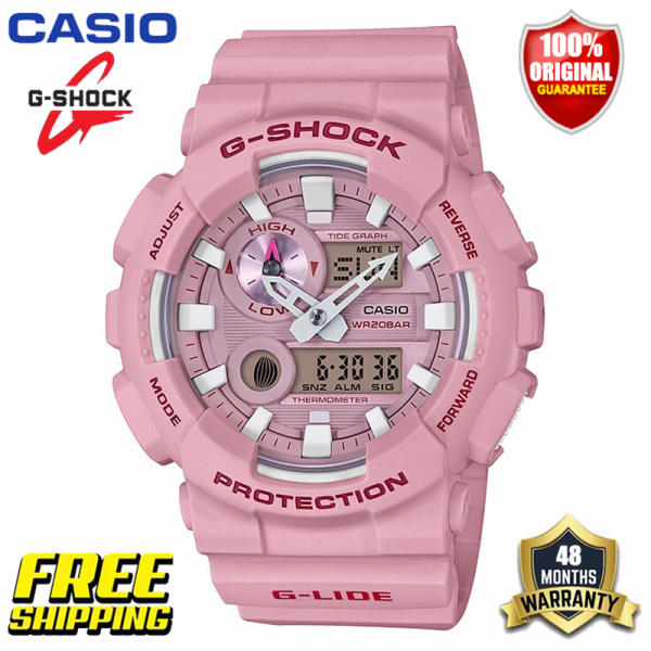 Original G Shock GAX100 Men Women Sport Watch Dual Time Display 200M Water Resistant Shockproof and Waterproof World Time LED Auto Light Thermometer Tidal Moon Phase Function Sports Wrist Watches 2 Years Warranty GAX-100CSA-4A Milkshake Pink (Ready Stock) Malaysia