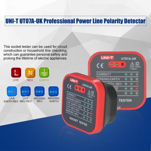 UNI-T UT07A-UK Professional Socket Tester Electrical Live/Null/Earth Line Polarity Detector UK Plug