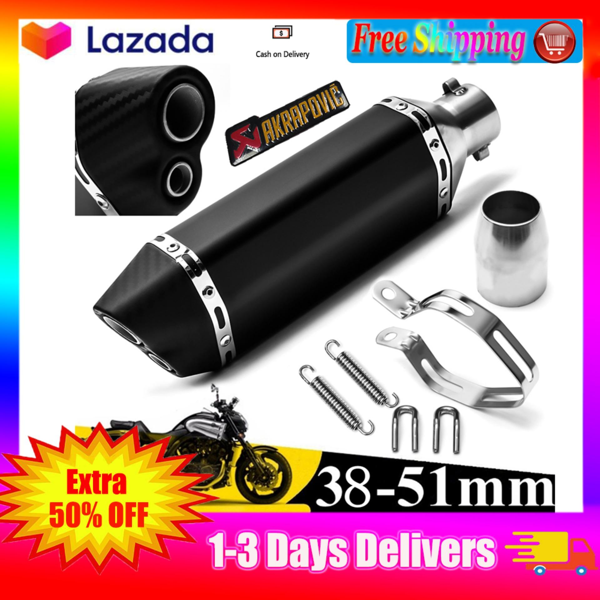 【Free Shipping】36-51mm Motorcycle Exhaust Carbon Stainless Steel Muffler  Pipe Double Air Outlet Black