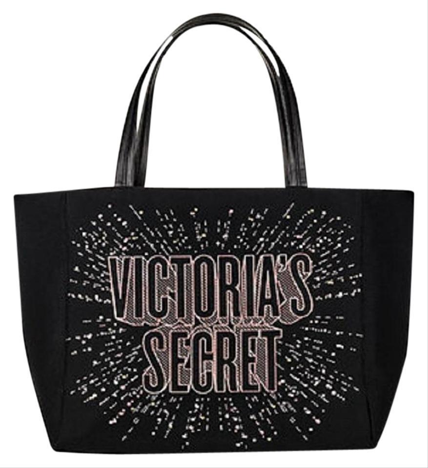 Victoria s Secret 2018 Limited Edition Beauty Black Multi Canvas Neoprene  Tote a448c82e18