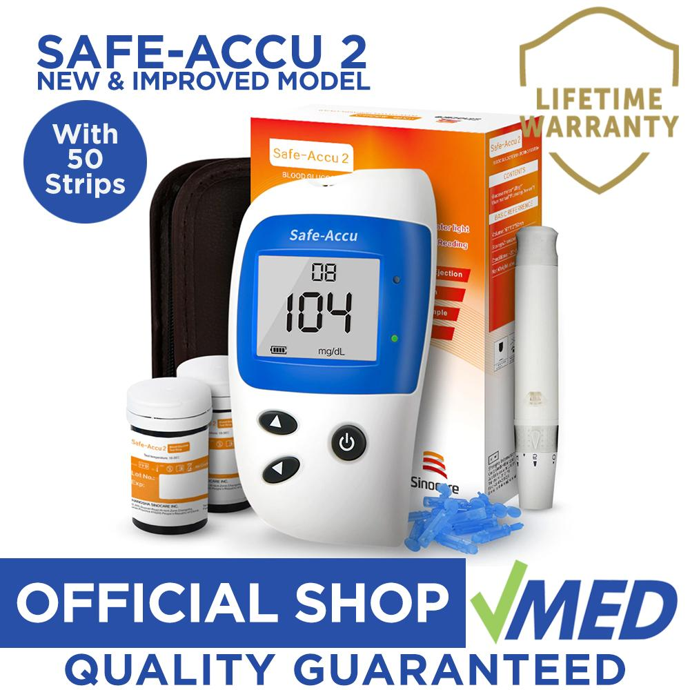 Safe-Accu 2 Blood Glucose Meter Machine w/ 50 Test Strips, Lancet, and  Lancing Device Diabetes Glucometer Monitor Analyzer