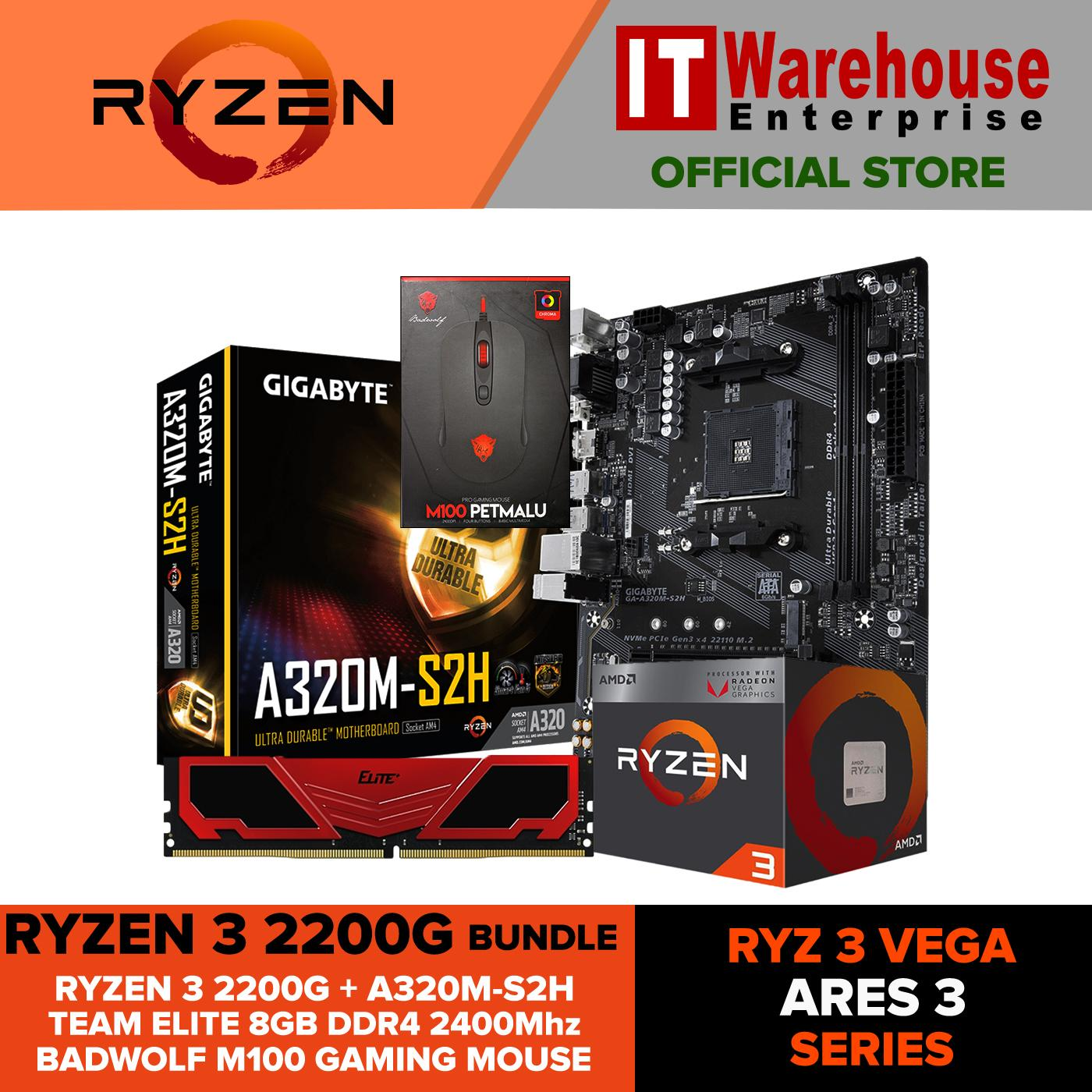 AMD Ryzen 3 2200G RYZ 3 VEGA ARES 3 Bundle Package Quad-Core 3 5 GHz Socket  AM4 65W with Radeon Vega 8 Graphics iGPU Desktop Processor with GIGABYTE